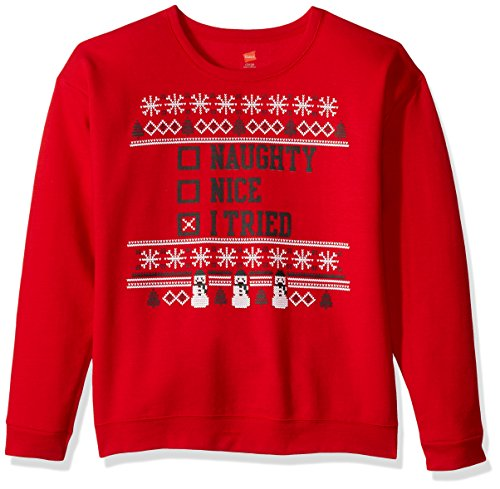 Hanes Boys' Little Ugly Christmas Sweatshirt, Best Red/I Tried, Small