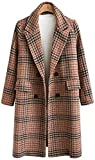 Chartou Women's Winter Oversize Lapel Collar Woolen Plaid Double Breasted Long Peacoat Jacket (X-Small, Camel)