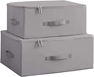 SMEJS Bacs de Rangement Pliables Cubes Boîtes avec Couvercle - Boîte de Rangement Lot de Deux organisateurs de Garde-Robes...