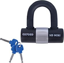 Oxford Unisex's HD Mini Shackle Lock, Zwart, One Size