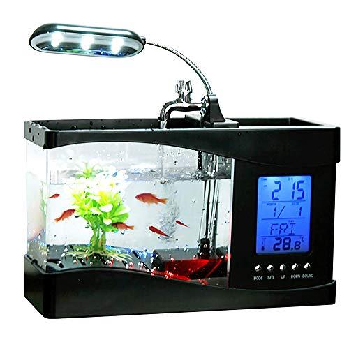 DECJ Aquarien Terrarium Tank, Desktop-USB-Aquarium, Wasserfall, Led-licht, Mini-Aquarium, Real Working Aquarium Mit Wecker, Kalender Und Innentemperaturanzeige,Schwarz