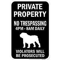 PRIVATE PROPERTY ブラックマグネットサイン:ブルドッグ シルエット 英語 私有地 無断立入禁止