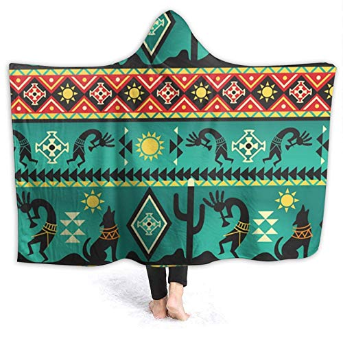 OLGCZM Aztec Southwest Native American Kokopelli Dancing Super Soft Light Weight Throw Wearable Hooded Blanket Sherpa Fleece Summer Quilt for Bed Couch Sofa