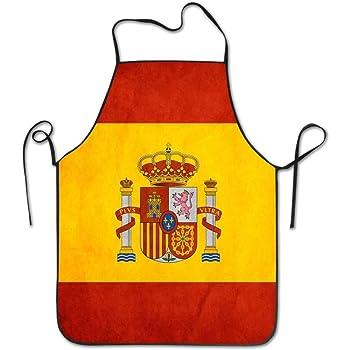 España Bandera Arte Delantal de Cocina Delantal de Cocina, Borde de Bloqueo Impermeable Cadena Duradera Ajustable Delantales de fácil Cuidado para Mujeres Hombres Chef: Amazon.es: Ropa y accesorios