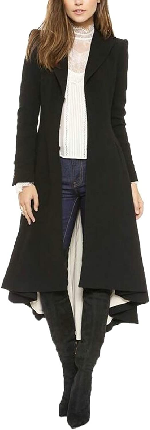 CBTLVSN Women's Slim Long Dovetail TurnDown Collar Trench Coat Gothic Clothing