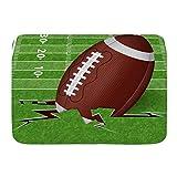 Kcmical Tapis de Bain Tapis, Brown Field Touchdown Ballon de Football Américain Sports Ligne Loisirs Vert Herbe Rugby Compétition 50 * 80Cm