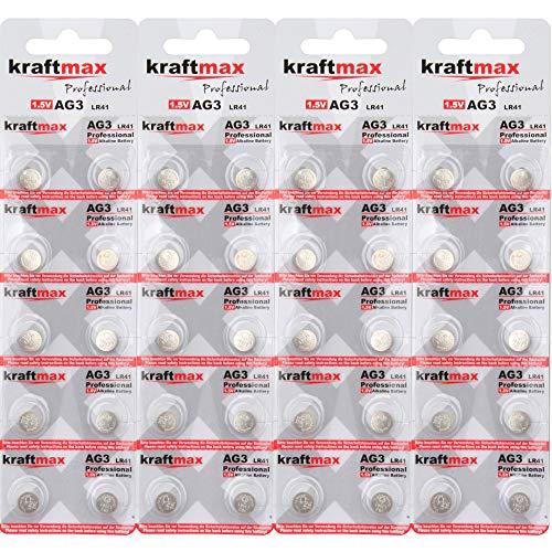 kraftmax 40er Pack Knopfzelle Typ 392 (AG3 / LR736 / LR41) Hochleistungs- Batterie / 1,5V Uhrenbatterie für professionelle Anwendungen - Neuste Generation