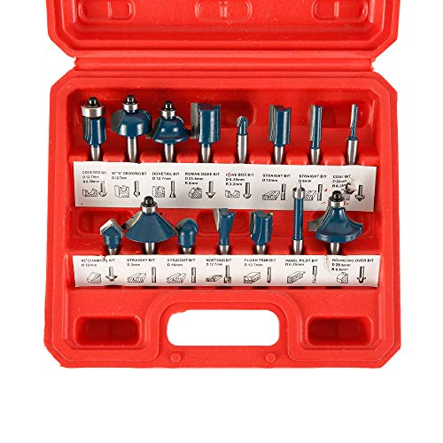 15PCS Router Bits Set 1/4 Inch Shank Tungsten Carbide Tipped Router Bits 6.35mm Milling Cutter Tool Woodworking Tool Kits with Storage Case for Home/DIY