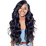 SMYUI Lace Front Wigs For Black Women,100% Human Hair wigs Brazilian Natural Black Body Wave Hair Wig-Front Lace 22 Inch