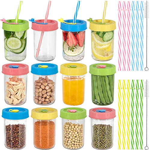 Glass Kids Cups Toddler Drinking Bottle Mason Drinking Jars, 8oz Mason Jars Regular Mouth Spill-proof Smoothies Cups with Airtight Lids & Straw for Juice/Smoothies/Kombucha/Milk/Food/Canning-12 Pack