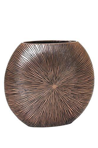 Vivanno Vase Deko Bodenvase Dekoration Fiberglas ATENA 50 x 55 x 18 cm Bronze Kupfer Schwarz