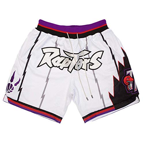 JNDM Pantalones Cortos de Baloncesto para Hombres Ráptǒrs, Pantalones Cortos de Bolsillo Bordados densos, Pantalones de Malla de Gimnasio Retro de Verano con Bolsillos White-M