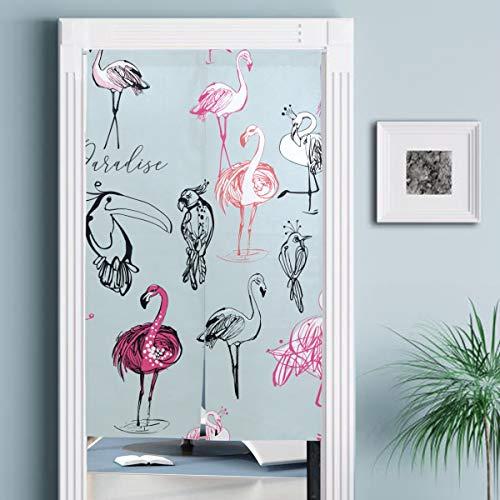 JISMUCI Vorhänge für Türen,Strichzeichnung Skizze Papagei Tukan Flamingo,Türvorhang Für die Küche Wohnzimmer Schlafzimmer