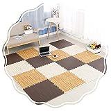 JIAJUAN-alfombra puzzle Niños Enclavamiento Espuma Esteras Impermeable Tapete De Juego Montar Madera Grano Superficie Piso Azulejos Estera (Color : B, Size : 30x30x2cm-32 pcs)