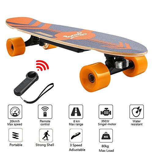 Caroma 70cm Elektro Skateboard, Elektro-Board, Skateboard elektrisch mit Motor, E-Skateboard, E-Board, Ahornholz Deck, 350W Motor | Reichweite 7 km, Max. Geschwindigkeit 20km/h (Orange)