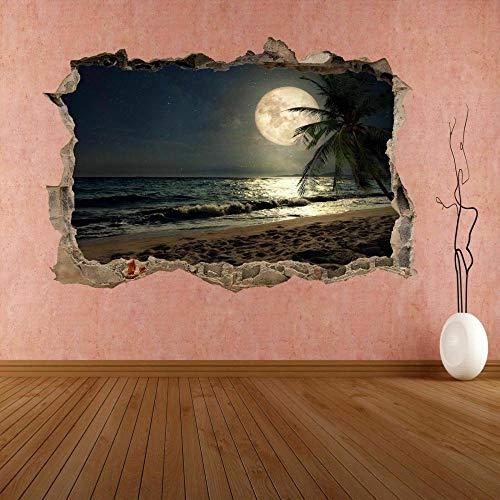 Pegatinas de pared para Moon Fantasy Playa Tropical Mar Etiqueta de Pared Mural Decal Decoración de Oficina
