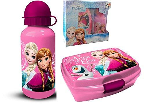 Theonoi 2 Teile Kinder Frühstück Set – wählbar: Frozen – Minnie – 1 x Brotdose Sandwichbox UND 1 x Aluminiumflasche/Trinkflasche Aluminium für Mädchen (Frozen)