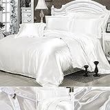 Seide Bettwäsche Set Bettbezug Seide Kissenbezug Spannbetttuch Satin Modern Leicht Weich Betten Set bequem (150x200cm, Weiß)