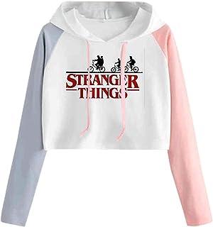 Sudadera Stranger Things Niña, Sudadera Stranger Things Mujer Color De Contrast Corta Sudadera con Capucha Adolescente Chi...
