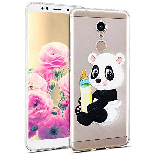 Uposao Kompatibel mit Hülle Xiaomi Redmi 5 Silikon Handyhüllen Bunt Muster Transparent TPU Silikon Handyhülle Durchsichtige Schutzhülle TPU Weich Tasche,Panda