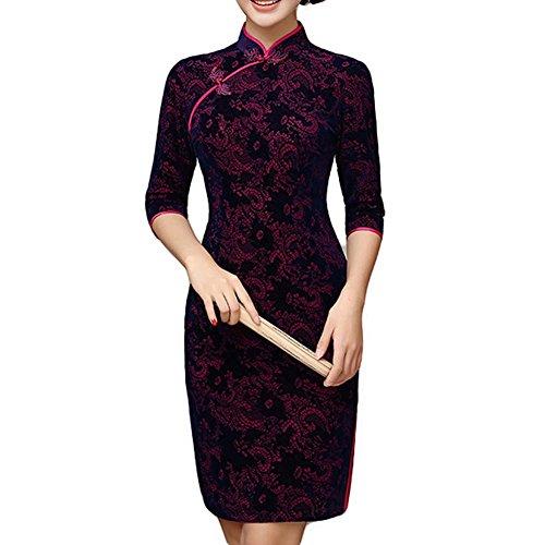Vestido corto de terciopelo Delgado vestido de cóctel Jacquard Cheongsam Vestido vestido de fiesta Qipao