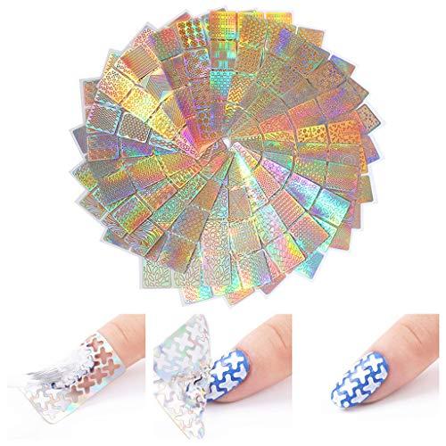 Bakicey Stickers Ongle, Nail Sticker Délicat Nail Art Modèles Mélangées Manucure Pointes Multifunction Mode Design Nail Tips Décorations Cadeau Sticker Set pour Femme (96 modèles, 24 Feuilles)