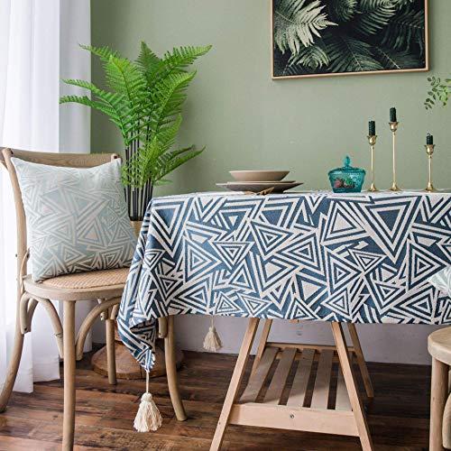 DAKEUR Mantel de Mesa de café Impermeable de Mesa de té de Estilo japonés, Mantel Grueso de Sala de Estar de Estilo Chino Funda de cojín 45 * 45 Mantel de triángulo Jacquard Azul Marino