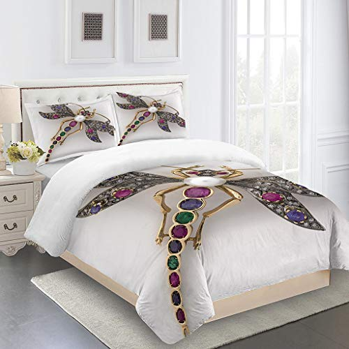 RQXRTR Duvet Covers King Size Beds 230X220cm 3 Pcs Creative Insect Dragonfly Printed Bedding Sets With Zipper Ultra Soft Microfiber Quilt Cover Sets, Teenager Adult Duvet Cover With 2 Pillowcases