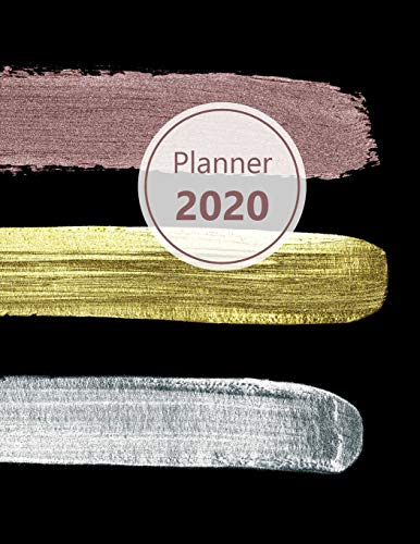 """Planner 2020: Monthly and Weekly Planner. Week on 1 page. Start your week with weekly Focus, Tasks, To-Dos. Monday start week. 11.0"""" x 8.5"""" (Letter ... silver, bronze, look. Soft matte cover)."""