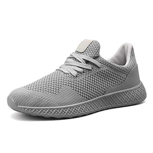 COOPCUP Zapatillas deportivas para hombre, transpirables, cómodas, para gimnasio, entrenamiento al aire libre, para verano (41, gris)