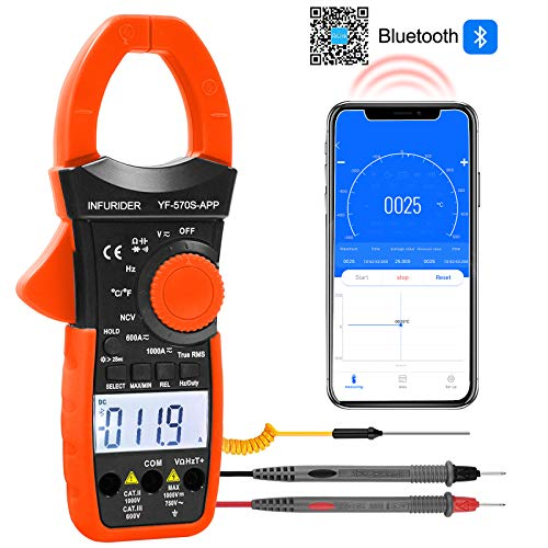 Pinza Amperimétrica YF-570S-APP Multimetro Digital Inalámbrico Bluetooth Rango Automático 1000A Amperímetro Pinza Multímetro, para Voltaje, Corriente, Ohmios, Capacitancia, Probador de Tempera