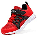 Kids Running Shoes Girls Size 1 Lightweight Non-Slip Red Shoes for Boys Athletic Durable Tennis Shoes for Girls Casual Sports Little Girls School Shoes Adjustable Hook Loop