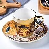 CJHYY Juego de Taza y platillo Creativo de Lujo Dorado, diseño Moderno, Taza de café de Porcelana de cerámica con Animales, decoración de Niture, Tazas de té