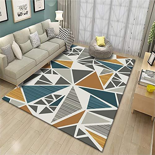 Kunsen hogar Alfombra despacho Alfombra de Sala de Estar Color geométrico a Juego Gris Azul marrón Antideslizante Antideslizante para alfombras 140X200CM 4ft 7.1' X6ft 6.7'
