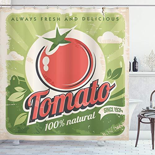 ABAKUHAUS Antiquität Duschvorhang, Vintage Tomaten Poster, mit 12 Ringe Set Wasserdicht Stielvoll Modern Farbfest & Schimmel Resistent, 175x240 cm, Grün Rot