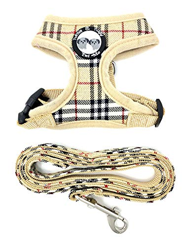 Twinkle & Mogly - Hundegeschirr mit Karomuster Brustgeschirr für kleine Hunderassen niedlich in Beige oder Rosa - Beige S mit Leine