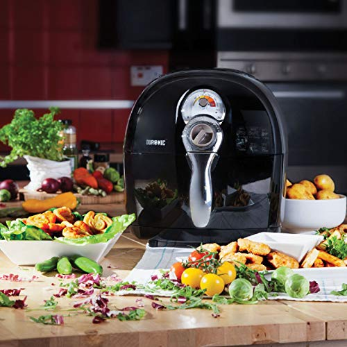 Duronic Air Fryer AF1 /B BLACK| Oil-Free & Low-Fat Healthy Cooking | Mini Oven | 1500W | 4.5L | Timer Function | Adjustable Temperature | Fry Chips, Chicken, Tasty Nutritious Meals | Free Recipe Book