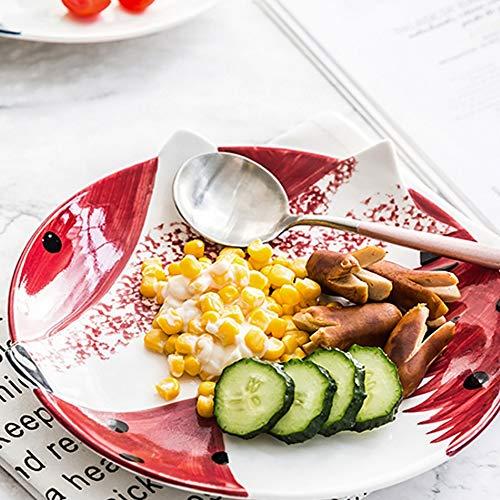 DAGONGREN Platos creativos Desayuno Filete Plato de Frutas para niños Pulgada Pintado a Mano Plato de Animales Cubiertos Platos de cerámica de Dibujos Animados