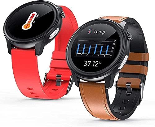 Pulsera inteligente reloj de negocios 1 3 pulgadas círculo completo táctil multi-deporte fitness tracker sueño temperatura corporal y otras funciones de monitoreo piel negra
