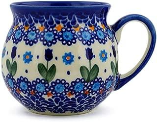 Polish Pottery 11 oz Bubble Mug (Blue Tulip Garden Theme) Signature UNIKAT + Certificate of Authenticity