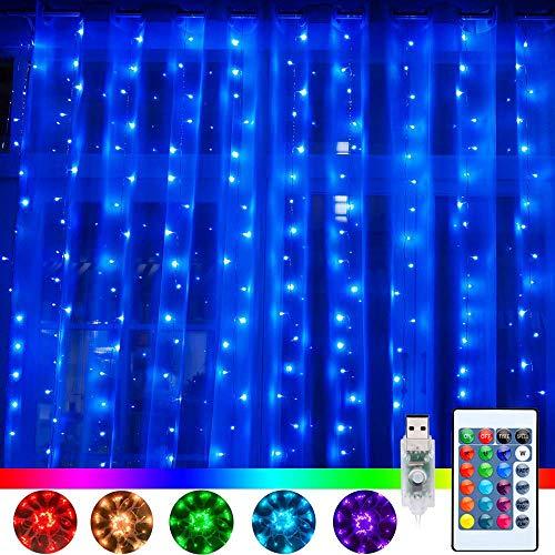 RGB LED Lichtervorhang 3x3M 240 LEDs Bunt Lichterketten Vorhang 16 Farben 4 Modi LED lichtvorhang mit Fernbedienung & Timer für Aussen Innen Weihnachten Partydeko Hochzeit Wohnzimmer Kinderzimmer