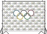 新しい7x5フィートのオリンピックスポーツの背景オリンピックリングインターナショナルバナーの写真撮影の背景