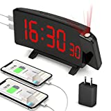 PEMOTech Projection Alarm Clocks for Bedrooms,【2020 Version】 7' Large Curved LED Display, 180° Rotation,Digital Alarm Clock Projection on Ceiling with Adapter & 2 USB Charging Port, 12/24H & Snooze
