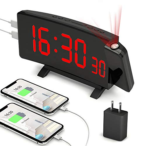 """PEMOTech Projection Alarm Clocks for Bedrooms,【2020 Version】 7"""" Large Curved LED Display, 180° Rotation,Digital Alarm Clock Projection on Ceiling with Adapter & 2 USB Charging Port, 12/24H & Snooze"""