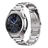 MroTech Bracelet de Montre 22 mm Compatible pour Samsung Gear S3 Frontier/Classic/Galaxy Watch 46mm Bande de Remplacement pour Huawei Watch 2 Classic/GT/GT2/GT Active/Elegant Band 22mm Acier Argent