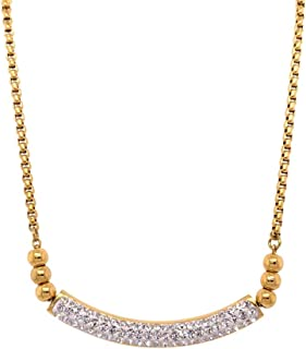 Bevilles Stainless Steel Yellow Pave Crystal ID Bolo Necklace
