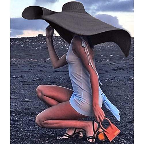 WYZQ Sombreros para el Sol Plegables, Sombrero de Paja Flojo Sombreros para el Sol de ala Ancha Grande Vacaciones Viajes Playa Protección Solar Anti-UV Gorra, Sombreros y Gorras Plegables