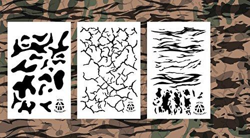 Acid Tactical® - Plantillas de pintura en aerosol para aerógrafo de vinilo de 23 x 35 cm, tierra agrietada, Jag Camp, pistola Duracoat Cerakote