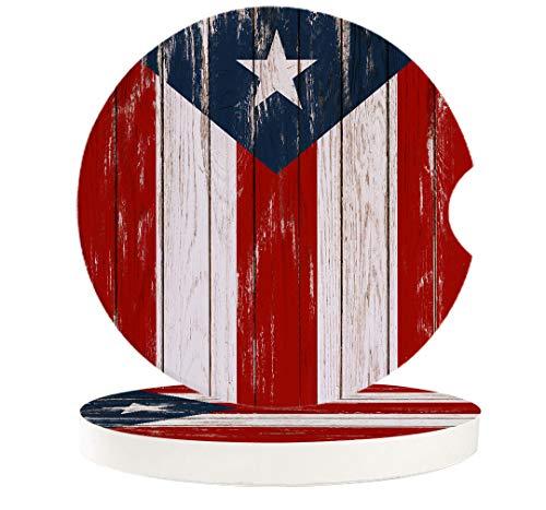 Saugfähige Auto-Untersetzer für Getränkehalter Puerto Rico-Flagge, klein, 6,5 cm, Keramik-Stein, Getränke-Untersetzer für Damen & Herren, Vintage-Holztextur, 2 Stück