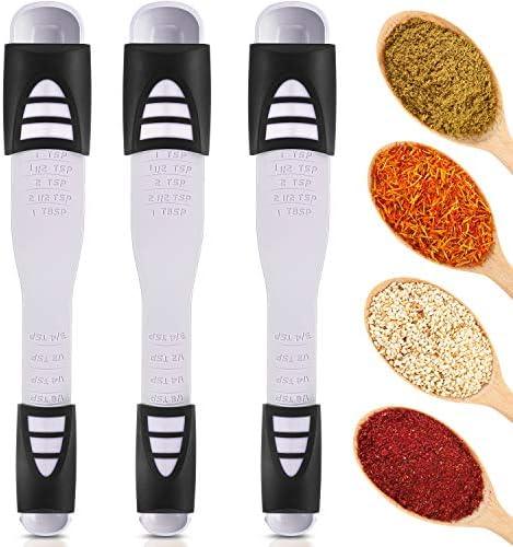 3 Pieces Adjustable Measuring Spoon Double End Adjustable Scale Nine Stalls Measuring Spoon product image
